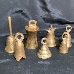 "Vintage Set of 7 Small Brass Bells Indian 2""-3"""